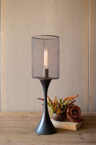 Tabletop Lamp With Metal Base And Wire Mesh Shade In 2020 Tall Table Lamps Rustic Table Lamps Table Top Lamps