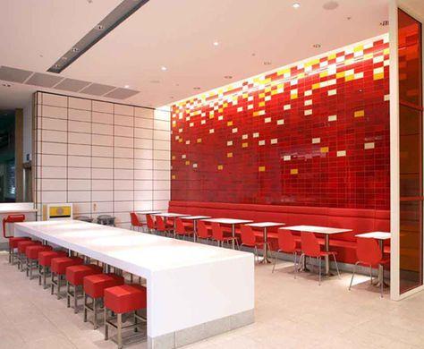 Architecture, Best Considerations to Build Good Fast Food Restaurant Design Ideas : Neat Red Fast Food Restaurant Sitting Arrangement