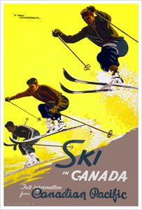 "24x36 1930s Canadian Vintage Style Skiing Poster /""Ski Fun/"""