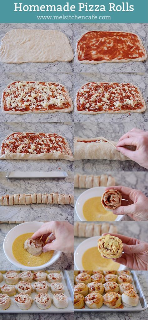 Who knew that homemade pepperoni pizza rolls could be this easy? All that saucy, cheesy, pepperoni goodness is rolled up together making these absolutely irresistible. #pepperonipizzarolls #pepperonipizza #pizzarolls #maindish #appetizer #melskitchencafe
