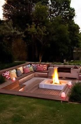 Sunken Fire Pit With Seating Use This Idea For Bench Along Pool Retaining Wall For A Couch Backyard Backyard Seating Dream Backyard