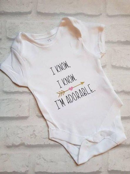 I/'m Adorable Baby Girl Short Sleeve Onesie in White with Pink Vinyl Lettering I Know I Know