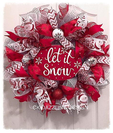 Let it snow deco mesh wreath/Christmas wreath/snowman wreath/holiday wreath/Red Christmas wreath Fall Mesh Wreaths, Christmas Wreaths For Front Door, Deco Mesh Wreaths, Holiday Wreaths, Holiday Crafts, Winter Wreaths, Yarn Wreaths, Floral Wreaths, Burlap Wreaths