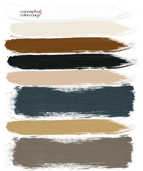 dark teal ochre olive green blonde wood russet brown black and white paint palette Black Color Palette, Brown Color Schemes, Colour Pallette, Modern Color Palette, Brown Color Palettes, Modern Color Schemes, Green Palette, Br House, Teal Paint