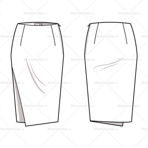 Women's pencil skirt with slightly asymmetrical overlay panel on front, invisible zipper at side seam.  Fashion sketch includes both front and back view.