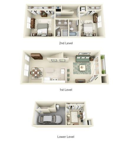 Jacquard Tapestry Two One Bedroom Two Bath Floor Plan 3d Image