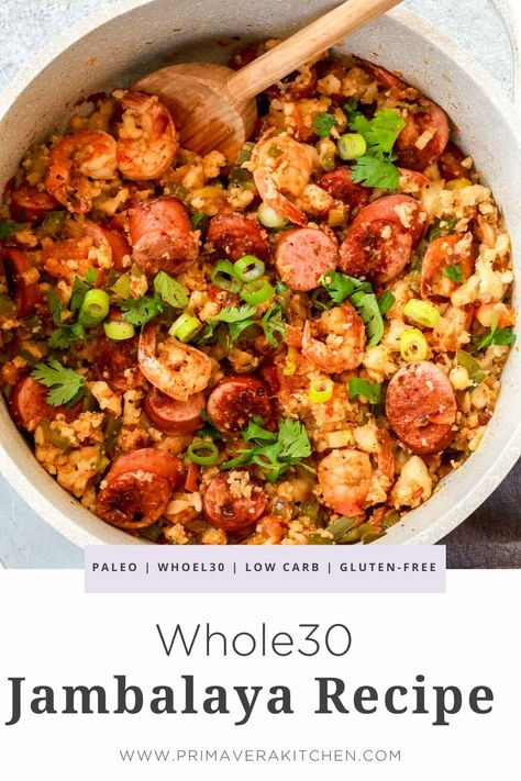 Having an easy and jambalaya recipein your recipe box means never missing out on these amazing traditional Louisiana flavors. Make a few small changes and enjoy this southern comfort food while maintaining your diet. It's perfect for a dinner family meal. Whole30 Dinner Recipes, Paleo Recipes, Whole Food Recipes, Cooking Recipes, Easy Comfort Food Recipes, Amazing Food Recipes, Whole 30 Easy Recipes, Healthy Sausage Recipes, Healthy Comfort Food