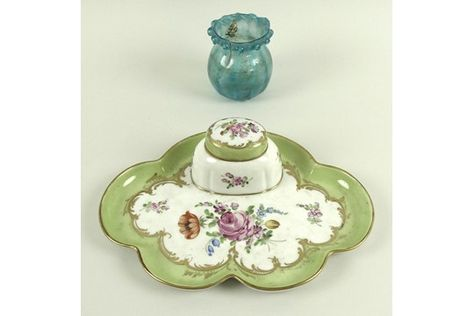 Green Vintage Porcelain Inkwell Porcelain Handmade Ink Well in Nice Pattern Writing or Caligraphy Accessories
