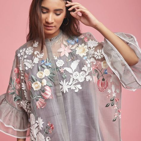 Pankaj Nidhi Spring Summer 2018 Embroidery Fashion Embroidery Suits Kurta Designs