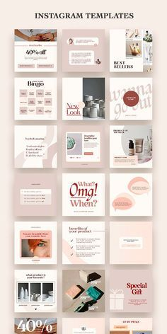 90 Instagram Post Templates | Product Based Business social media Feed | Female Entrepreneur | feminine Canva | Small Business Marketing Kit