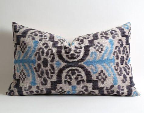 Velvet ikat pillow cover, 16x26 blue