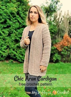 Chic Aran Cardigan Free Crochet Pattern with Tutorial