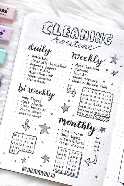 15 Best Cleaning Tracker Spreads For Bullet Journal Addicts - Crazy Laura