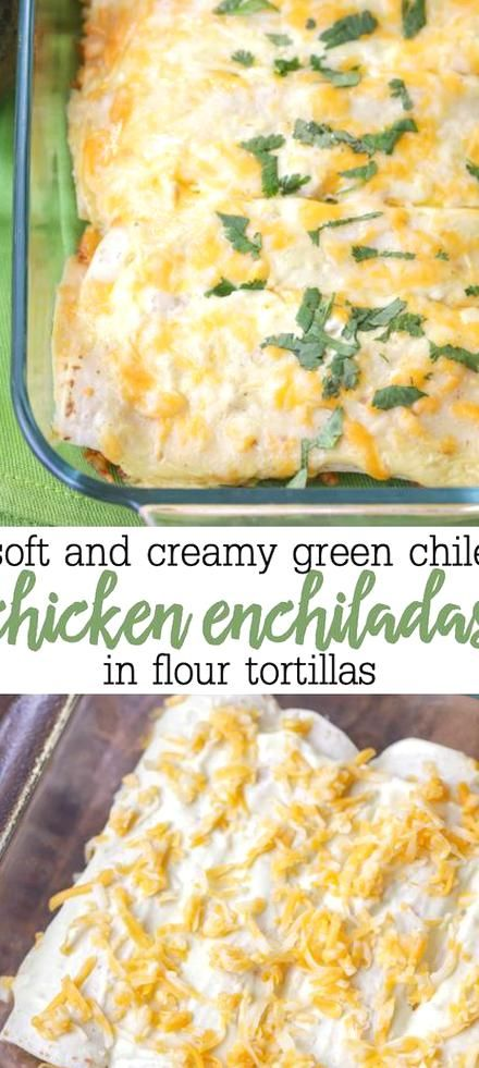 Green Chile Chicken Enchiladas Made From Chicken Sour Cream Cream In 2020 Creamy Chicken Enchiladas Recipe Sour Cream Chicken Enchilada Recipe Chicken Enchilada Recipe