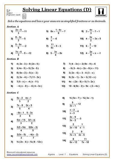 Solving Equations Maths Worksheet Algebra Worksheets Solving Linear Equations Pre Algebra Worksheets