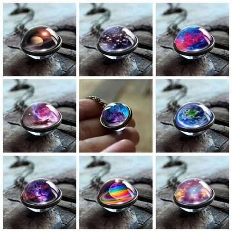 2019 New Nebula Galaxy Double Sided Pendant Necklace Universe Planet Jewelry Glass Art Picture Handmade Statement Necklace (Discount: 40 % )