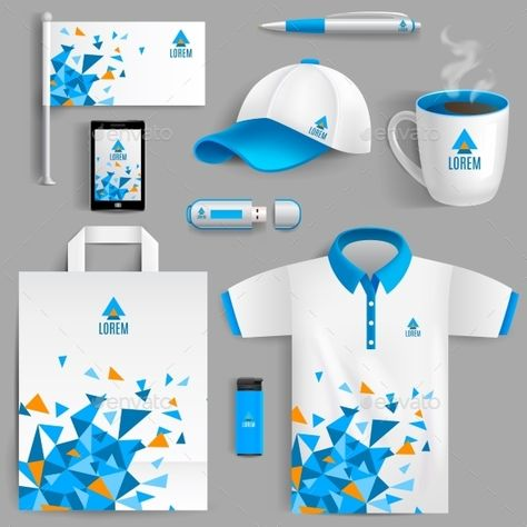 Buy Corporate Identity Blue by macrovector on GraphicRiver. Corporate identity ad objects in blue abstract geometric design isolated vector illustration.