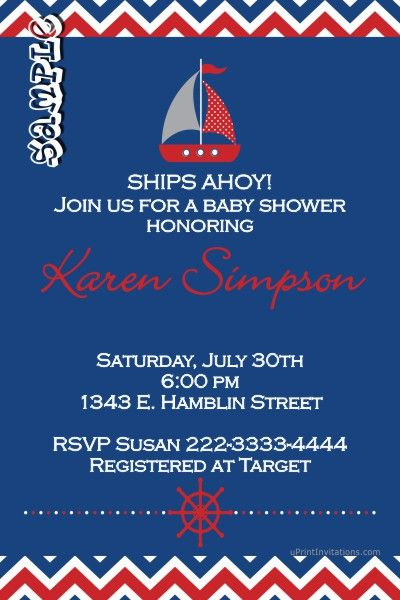 Awesome Nautical Baby Shower Custom Invitations Digital Baby Shower   Create  Invitations Online Free No Download  Create Invitations Online Free No Download
