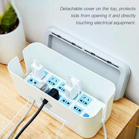 """16/"""" Hideaway Cable Storage Box Tidy Wire Management Organiser Solution"""