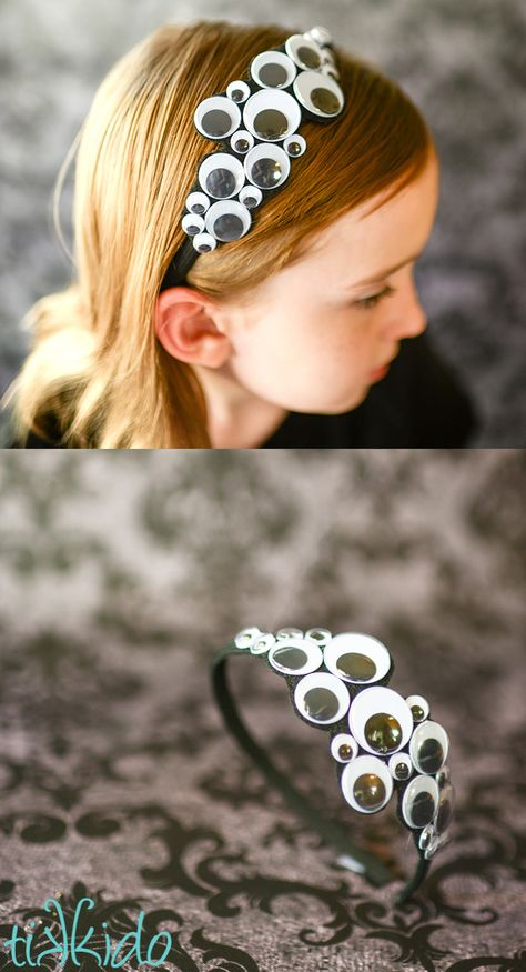 Make this easy googly eye headband and celebrate the Halloween spirit all October long! Make this easy googly eye headband and celebrate the Halloween spirit all October long! Moldes Halloween, Halloween Bows, Halloween Crafts For Kids, Halloween Projects, Diy Halloween Decorations, Spirit Halloween, Holidays Halloween, Halloween Makeup, Happy Halloween