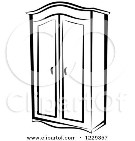 Clipart Of A Black And White Wardrobe Closet Royalty Free Vector Intended For Closet Clipart Black And White 35091