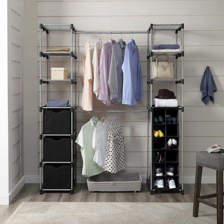 Mainstays Closet Organizer 2 Tower 9 Shelves Easy To Assemble Black Walmart Com Hanging Closet Organizer Closet Clothes Storage Closet Organization