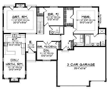 Home Plans HOMEPW01706 - 1,896 Square Feet, 3 Bedroom 2 Bathroom Cottage Home with 3 Garage Bays