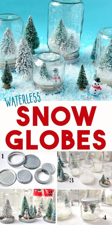 Waterless snow globes are fun to shake, don't break and so easy to make, even a kid could do it! A fun twist to a traditional winter craft. Learn how to make waterless snow globes at TidyMom.net #snowglobes #crafts #crafting #craftsforkids #wintercrafts #christmasdecor #christmascrafts  via @tidymom