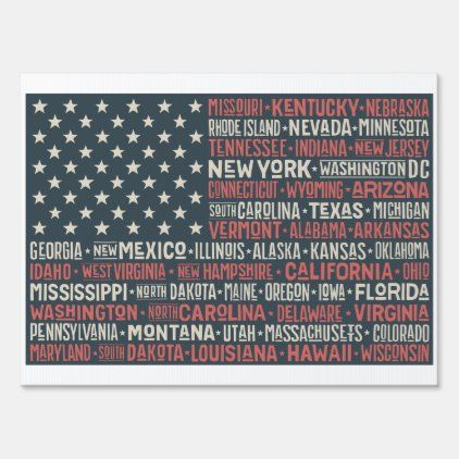 Vintage Faded American Flag State Names Words Sign Zazzle Com In 2020 Word Art Sign Word Art American Flag