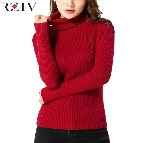 Heap Turtleneck Wool Cashmere Blended Red Black Striped