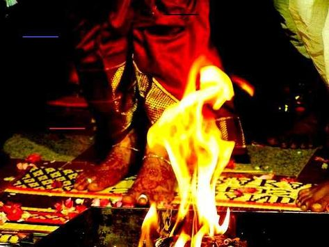 Saptapadi, a Hindu wedding ritual, around Agni in progress.   #culture #geography #science #world #life #art #education #writing #research  #travel #holiday #books #knowledge #facts #nature #places #countries #cities #towns #villages #continents #tourism #vacation #entertainment #newspapers #magazines #india #asia #culture #heritage<br>