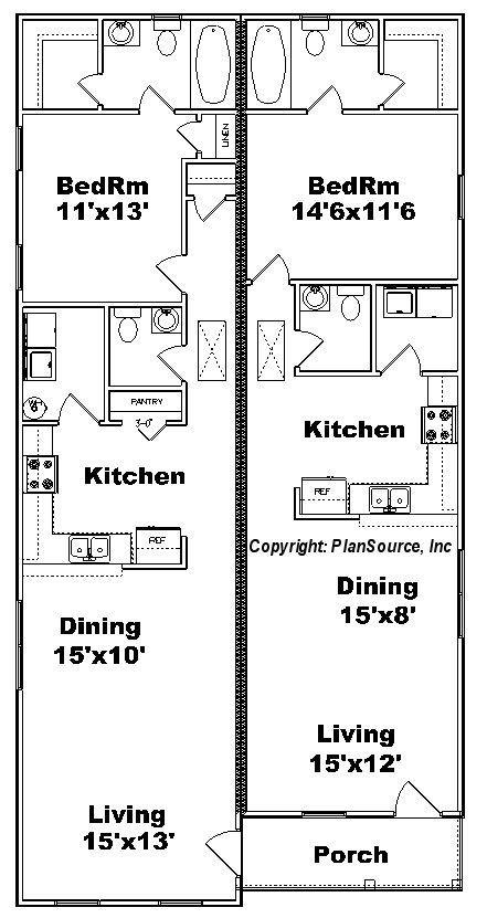 1 Bedroom Duplex House Plans One Bedroom Duplex Plan J0814 12d Plansource Inc Duplex Plans One Bedroom House One Bedroom House Plans