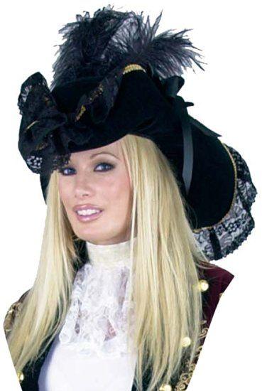 Pirate //Buccaneer Hat Ladies Blk Velour Mini Tricorn Costume Hat W// Skull Accent