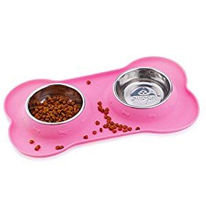 Super Design Stainless Steel Water Food Bowls In Non Skid No Spill Silicone Mat For Small Dogs Or Cats Small Pink Dog Supplies Online Dog Supplies Online Dog Water Bowls Pet