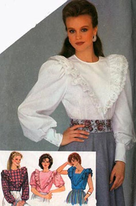 Vintage 1980s Blouse  Ruffle Collar Button Front 80s Shirt  Groovy Long Sleeve Lace Trim 80s Blouse  Size Medium