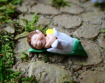 Leprechaun Baby Sleeping On Rainbow Miniature Dollhouse FAIRY GARDEN Figurine