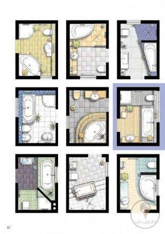 أفكار وحلول للحمامات الصغيرة Small Bathroom Layout Bathroom Plans Bathroom Layout
