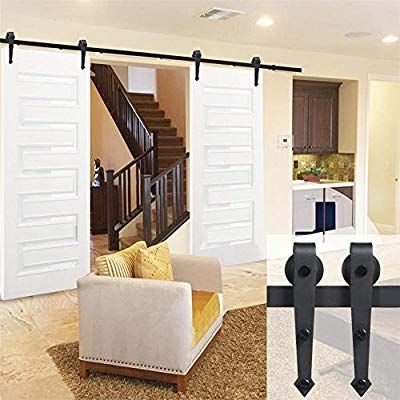 Amazon Com Yaheetech 12ft Sliding Barn Door Closet Hardware Set Black Wood Antique Style Sliding Barn Door Closet Modern Sliding Barn Door Interior Barn Doors