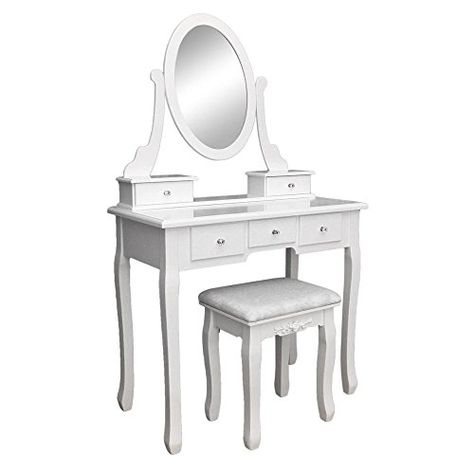 Globe House Products Ghp White Mdf 5 Drawer Bedroom Vanity Makeup Dressing Table With Dressing Table Vanity Vanity Table Set 5 Drawer Dressing Table