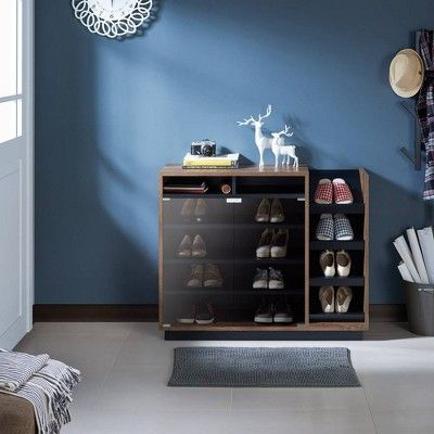 Glaspie Transitional Shoe Cabinet Distress Walnut Black Iohomes Cabinet Distress Glaspie Iohomes Shoe Transitional Walnutblack Em 2020