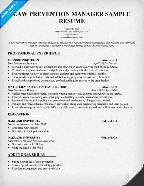 Law Prevention Manager Resume Sample - Law Interesting - sample resumes for lawyers