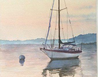 Original Watercolor Painting Sailing Boat Painting Peinture De