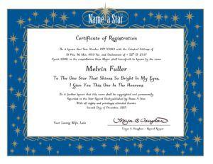 Star Naming Certificate Template Certificate Templates Certificate Of Achievement Template Birth Certificate Template