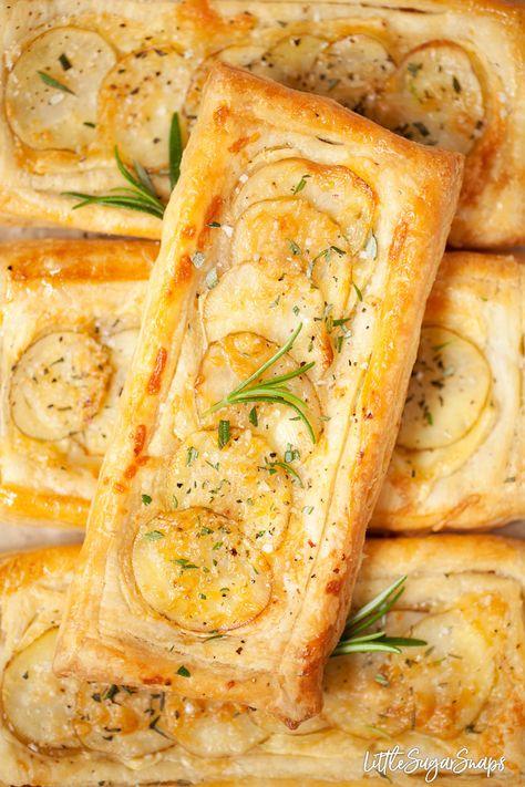 Easy brie & Potato tarts with 15 minute rough puff pastry #potatotart #brietart #savorytart #savourytartt #cheeseandpotatotart #roughpuffpastry