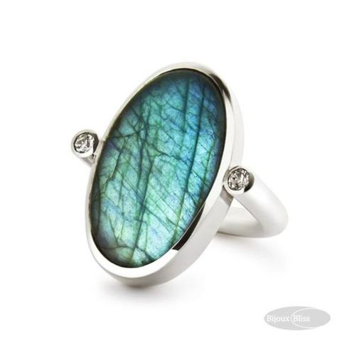 Natural Blue Fire Labrodorite Designer Gifted For Girlfriend Mother's Day Engagment Wedding Birthday Crafted 925 Silver Jewelry Ring - Steampunk And Jewelry,