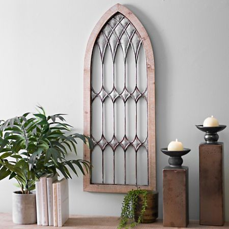 Galvanized Metal And Wood Cathedral Arch Plaque Kirklands Arched Wall Decor Rustic Table Decor Metal Wall Decor