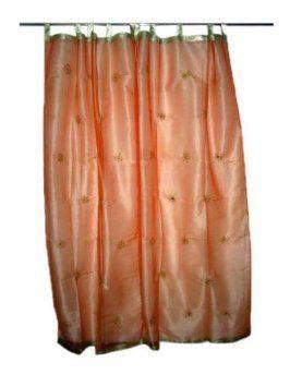Amazon.com: India Curtains Sheer 2 Organza Peach Gold Mirror Embroidered  Window Panel: Home U0026 Kitchen | India Curtains | Pinterest | Gold Mirrors,  ...