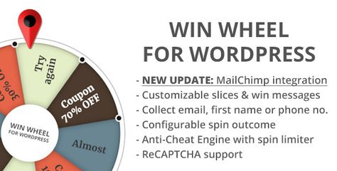 Win Wheel For WordPress ⠀ Version 2.5.0 New Important Features (13 Nov 2017) - NEW MailChimp integration, subscribe users to your list (single & double optin) - NEW Option to hide win message & send to email instead... ⠀ #codecanyon #conversion #coupons #engagement #fortune #instant #lucky #spin #spin2win #superduperplugins #utilities #wheel #wheeloffortune #win #winwheel #wordpress #game #marketing #responsive