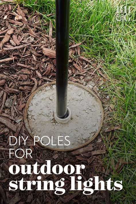 Try Out This Permanent Solution for Your Patio String Lights black light pole installed in yard surrounded by mulch Backyard String Lights, Backyard Lighting, Outdoor Lighting, Patio Lighting Ideas Diy, Lights On Deck, How To Hang Patio Lights, Poles For Outdoor Lights, Outside Lighting Ideas, Outdoor Decorative Lights