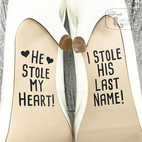 Everything in our shop is MADE TO ORDER. Please read our listings thoroughly. :) Wedding shoe decals. These decals are made out of a durable vinyl. The decals measure approximately 2.5 inches tall and approximately 1.5 inches wide. These make an adorable detail for your wedding